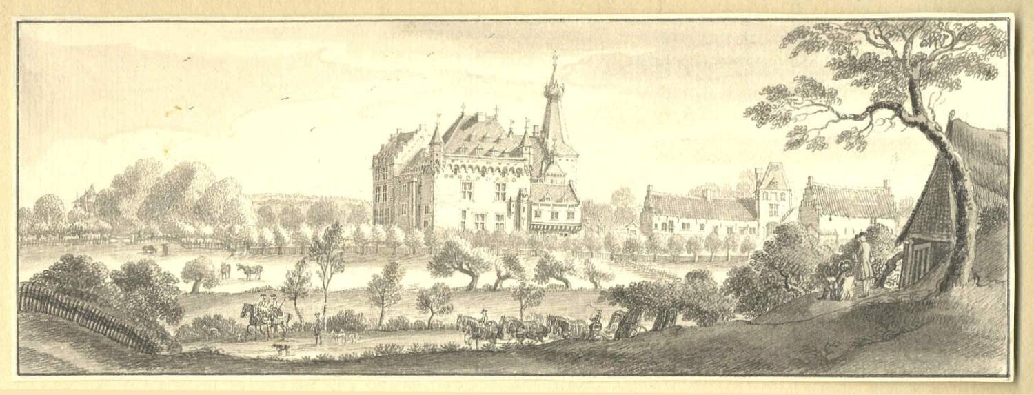 Kasteel Doorwerth in Doorwerth. Tekening Jan de Beijer, 1744